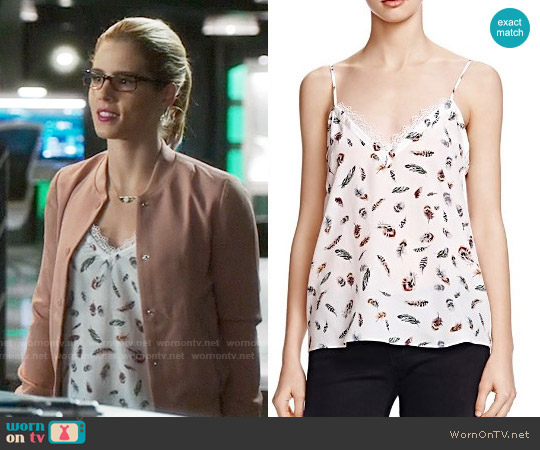 The Kooples Feather Print Silk Tank Top worn by Emily Bett Rickards on Arrow