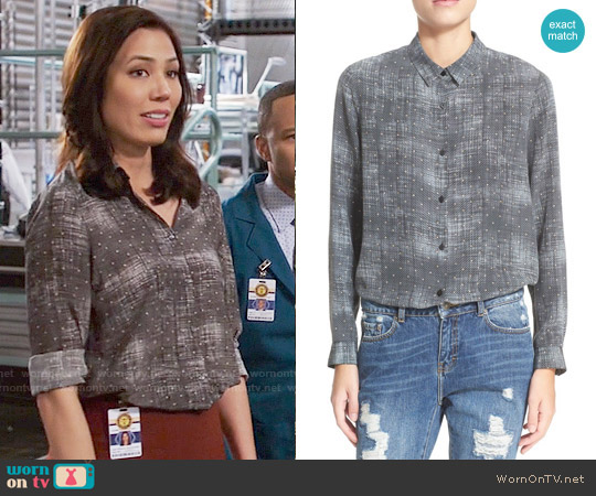 The Kooples Fuzzy Star Print Silk Shirt worn by Angela Montenegro (Michaela Conlin) on Bones