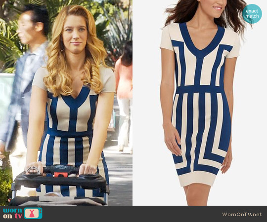 The Limited Eva Longoria Power Knit Color Blocked Dress worn by Yael Grobglas on Jane the Virgin