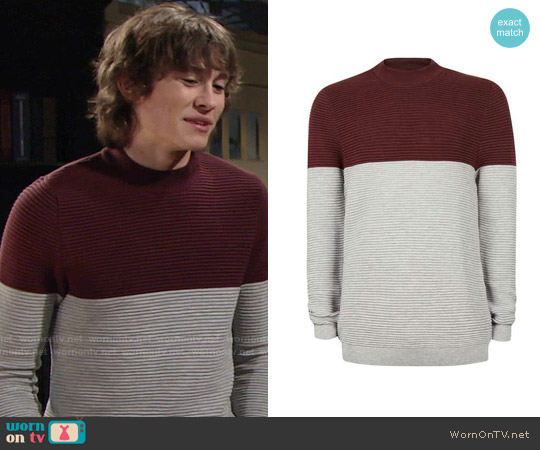 Topman Ripple Textured Turtle Neck Sweater worn by Reed Newman Hellstrom (Tristan Lake Leabu) on The Young & the Restless