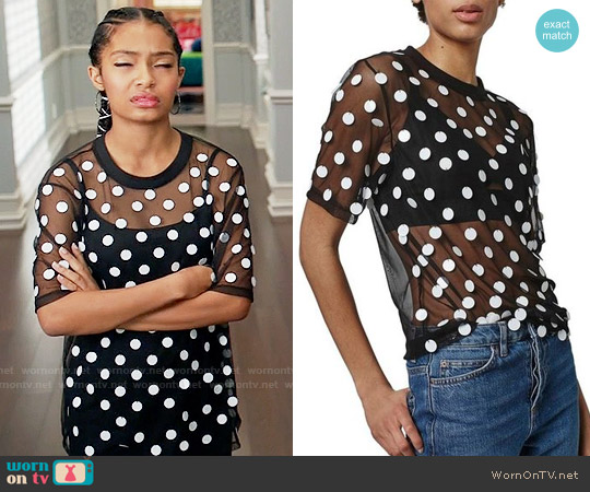 Topshop Disc Embellished Sheer Mesh Tee worn by Zoey Johnson (Yara Shahidi) on Blackish