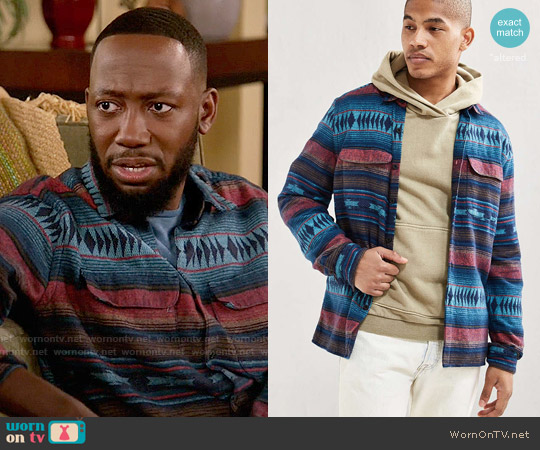 Urban Outfitters Blanket Jacquard Flannel Button-Down Shirt worn by Winston Bishop (Lamorne Morris) on New Girl