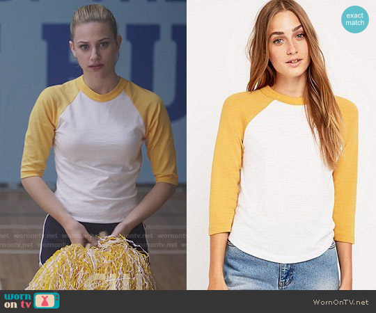 Urban Outfitters '70s Baseball Tee worn by Veronica Lodge (Camila Mendes) on Riverdale