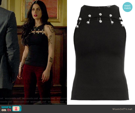 Safety-pin cut-out sleeveless top by Versus Versace worn by Emeraude Toubia  on Shadowhunters
