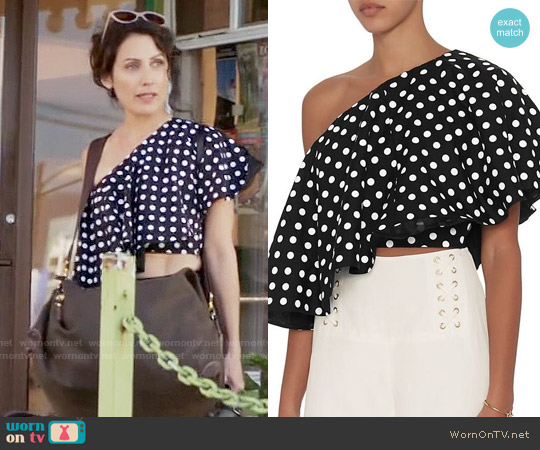 Viva Aviva Single Shoulder Polka Dot Top worn by Lisa Edelstein on GG2D