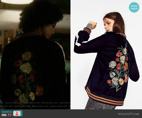 Floral Embroidered Bomber Jacket by Zara worn by Maia Roberts (Alisha Wainwright ) on Shadowhunters