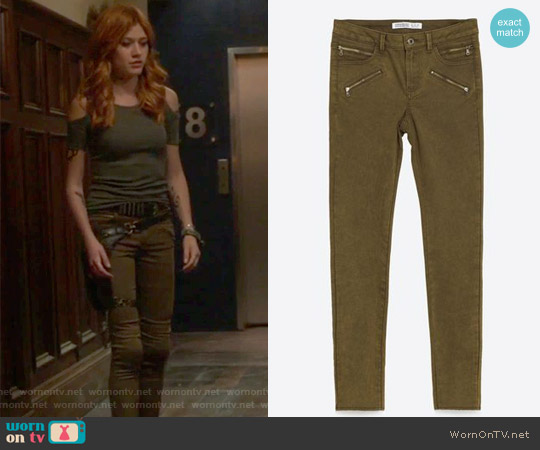 Skinny Six Zip Trousers by Zara worn by Clary Fray (Katherine McNamara) on Shadowhunters