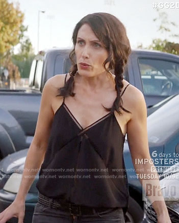 Abby's black laddered insert cami on Girlfriends Guide to Divorce