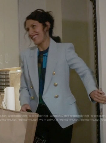 Abby's light blue blazer on Girlfriends Guide to Divorce