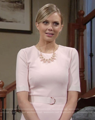 Abby's light pink belted sheath dress on The Young and the Restless