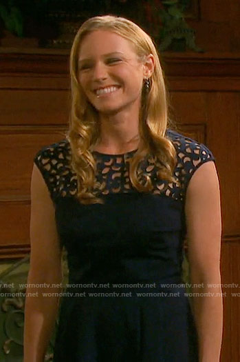 Abigail's navy illusion dress on Days of our Lives