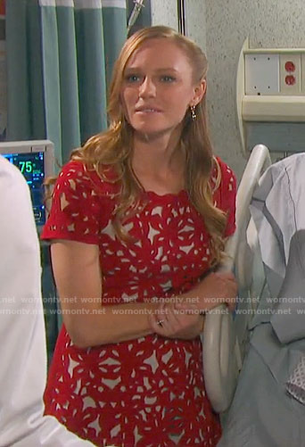 Abigail's red laser cutout dress on Days of our Lives