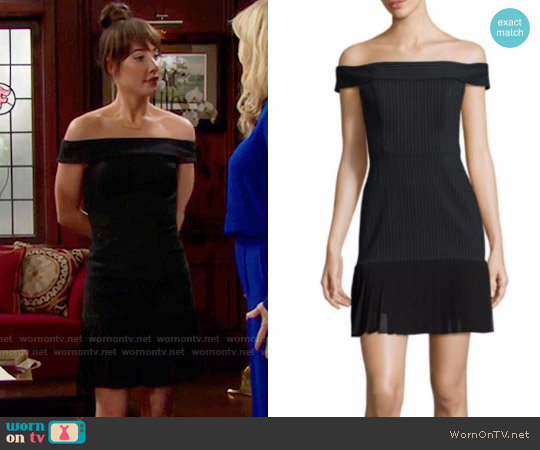 ABS Off-The-Shoulder Pleated Hem Dress worn by Steffy Forrester (Jacqueline MacInnes Wood) on The Bold & the Beautiful