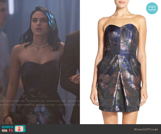 Adelyn Rae Strapless Jacquard Sheath Dress worn by Veronica Lodge (Camila Mendes) on Riverdale