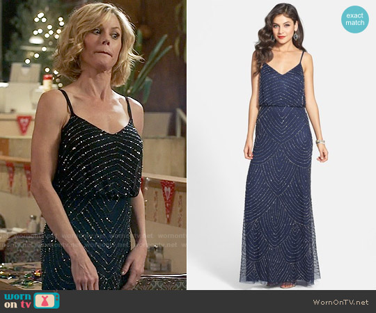 Adrianna Papell Embellished Blouson Gown worn by Claire Dunphy (Julie Bowen) on Modern Family