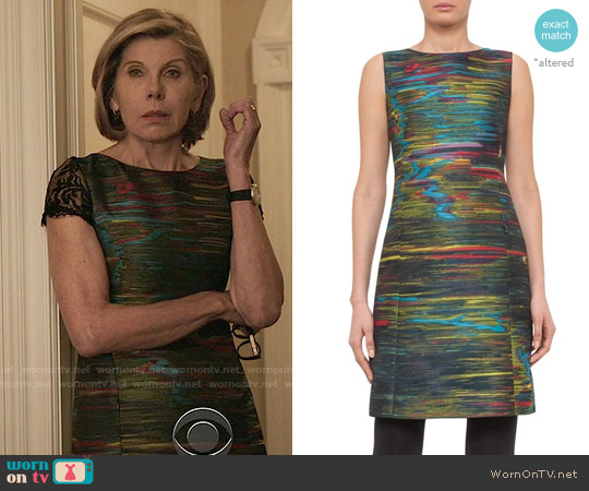 Akris Punto Northern Lights Dress worn by Diane Lockhart (Christine Baranski) on The Good Fight