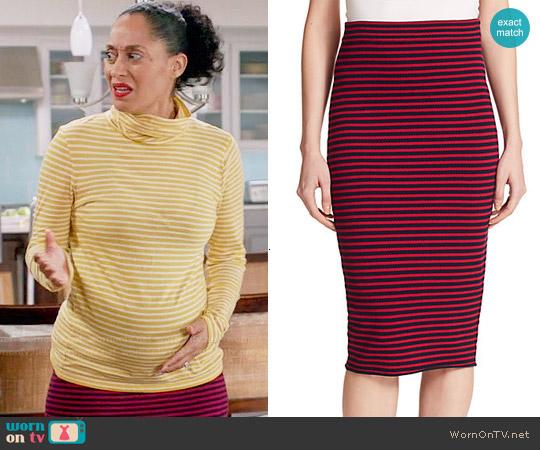 A.L.C. Delmar Striped Skirt worn by Rainbow Johnson on Blackish