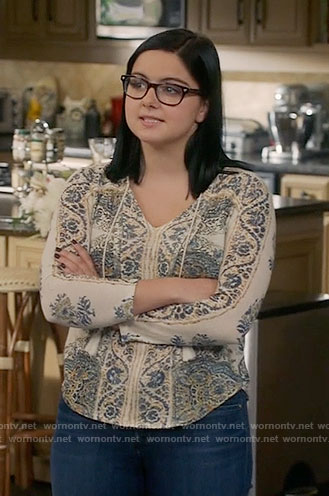 Alex's cream and blue printed top on Modern Family