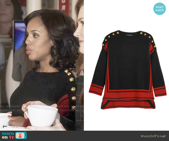 Alexander McQueen Button-embellished two-tone cashmere sweater worn by Kerry Washington on Scandal