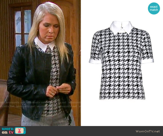 Alice + Olivia Tara Houndstooth Sweater worn by Melissa Reeves on Days of our Lives