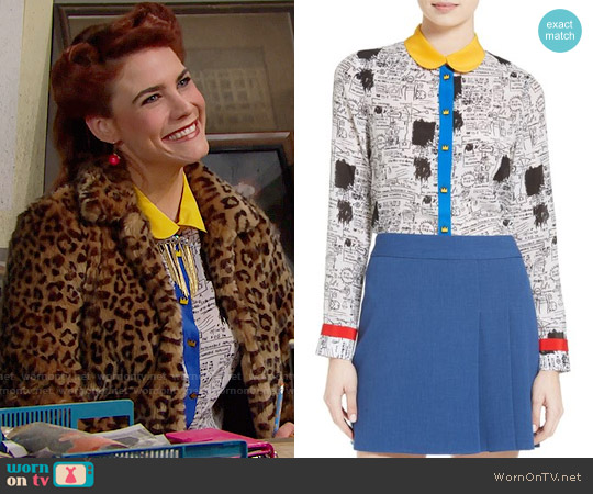 Alice + Olivia Gary Print Silk Blouse worn by Sally Spectra (Courtney Hope) on The Bold & the Beautiful