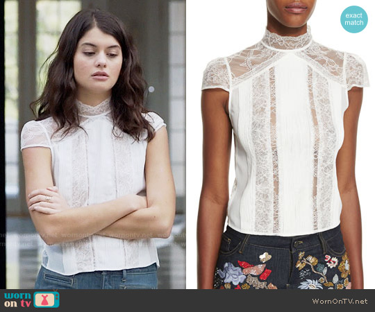 Alice + Olivia Isadora Lace Top worn by Sofia Black D'Elia on The Mick