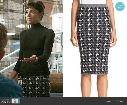 Alice + Olivia Delphie Houndstooth Skirt worn by Tamara Taylor on Bones