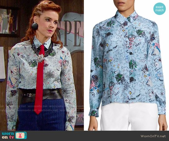 Alice + Olivia Doodle Pop Willa Shirt worn by Sally Spectra (Courtney Hope) on The Bold & the Beautiful