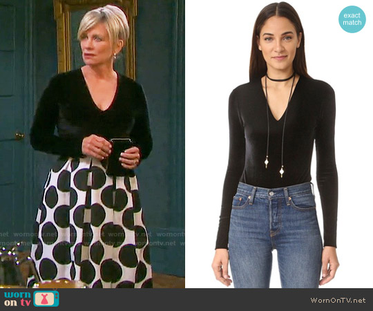 Alice + Olivia Lacy Velvet Bodysuit worn by Kayla Brady on Days of our Lives