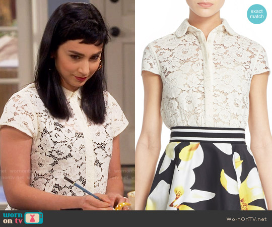Alice + Olivia Loni Lace Shirt worn by  Molly Ephraim on Last Man Standing