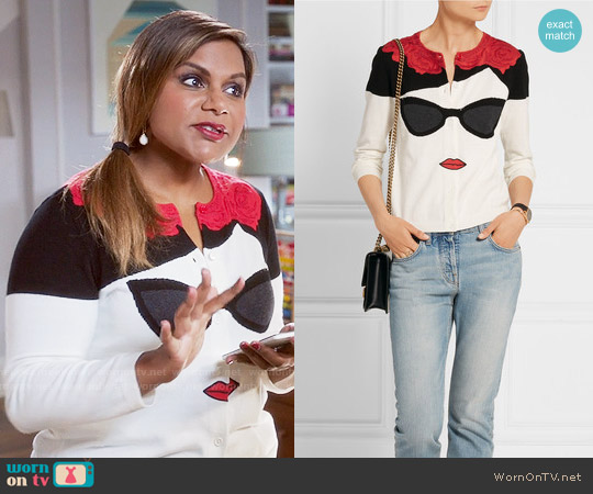 Alice + Olivia Stace Face Cardigan worn by Mindy Kaling on The Mindy Project