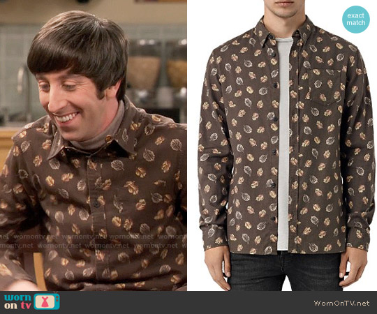 All Saints Wieppe Leaf Print Shirt worn by Howard Wolowitz (Simon Helberg) on The Big Bang Theory