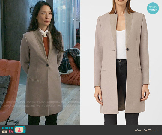 All Saints Leni Coat in Taupe Brown worn by Lucy Liu on Elementary