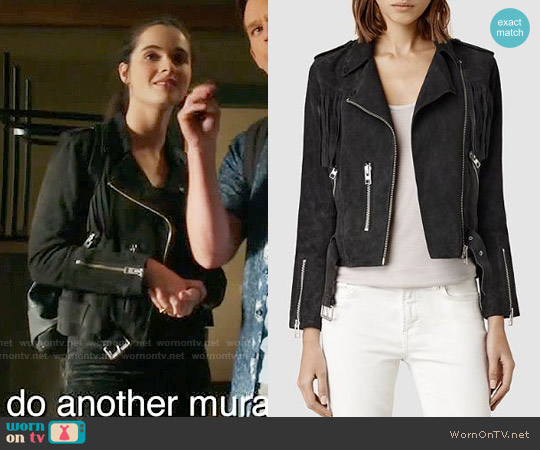 All Saints  Tassel Leather Biker Jacket worn by Vanessa Marano on Switched at Birth