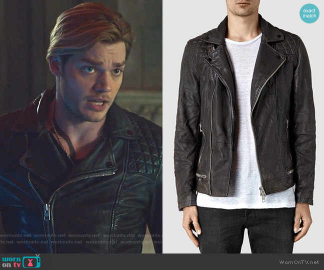 Conroy Leather Biker Jacket by All Saints worn by Jace Wayland (Dominic Sherwood) on Shadowhunters