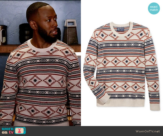 American Rag Chalet Geo Sweater worn by Winston Bishop (Lamorne Morris) on New Girl