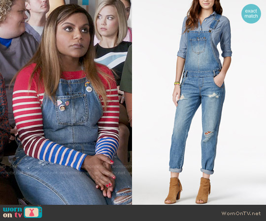 American Rag Ripped Denim Marlowe Wash Overalls worn by Mindy Lahiri on The Mindy Project