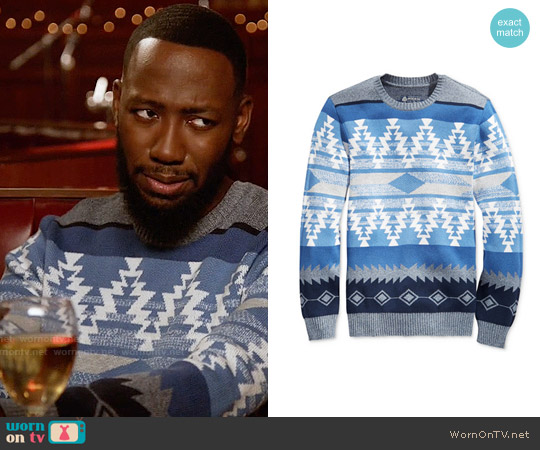 American Rag Zig Zag Geo Sweater worn by Lamorne Morris on New Girl