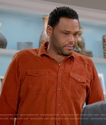 Andre's orange corduroy shirt on Black-ish