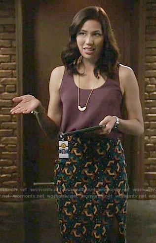 Angela's geometric print skirt and purple top on Bones