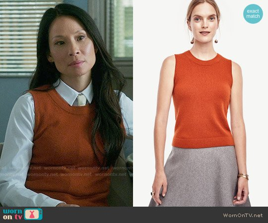 Ann Taylor Cashmere Cropped Shell in Russet Orange worn by Joan Watson (Lucy Liu) on Elementary