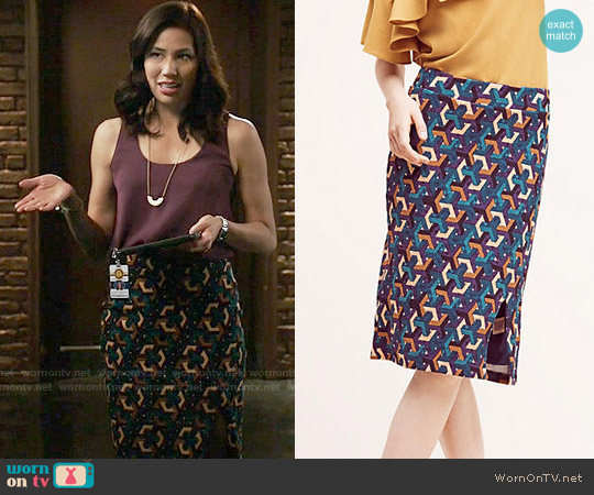 Anthropologie Geometrique Pencil Skirt worn by Angela Montenegro (Michaela Conlin) on Bones