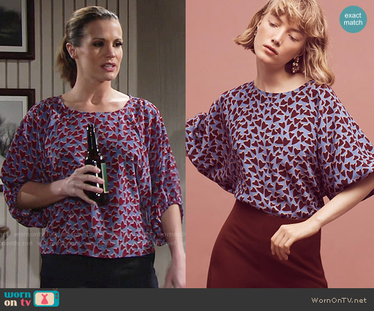 Anthropologie Silk Kimono Blouse worn by Melissa Claire Egan on The Young & the Restless
