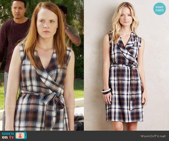 Anthropologie Wrapped Plaid Dress worn by Daphne Vasquez (Katie Leclerc) on Switched at Birth