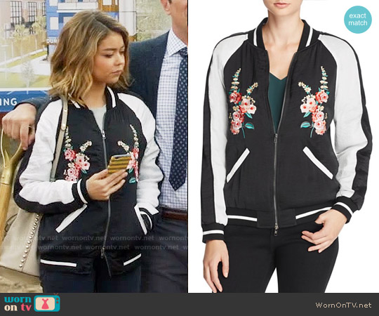 Aqua Floral Embroidered Bomber Jacket worn by Sarah Hyland on Modern Family