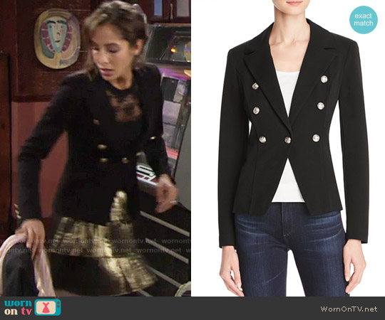Aqua Crested Button Blazer worn by Christel Khalil on The Young & the Restless