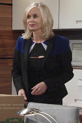 Ashley's black and blue colorblock dress and blazer on The Young and the Restless