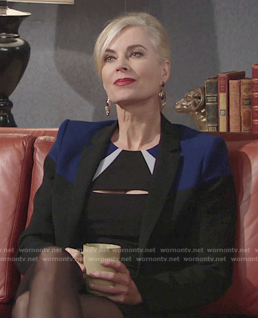 Ashley's black and blue colorblock jacket and blazer on The Young and the Restless