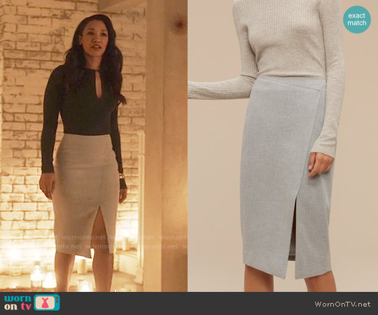 Babaton Forrest Skirt in Heather Comet worn by Iris West on The Flash