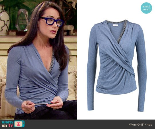 Bailey 44 Draped Chain Trimmed Top worn by Rena Sofer on The Bold & the Beautiful